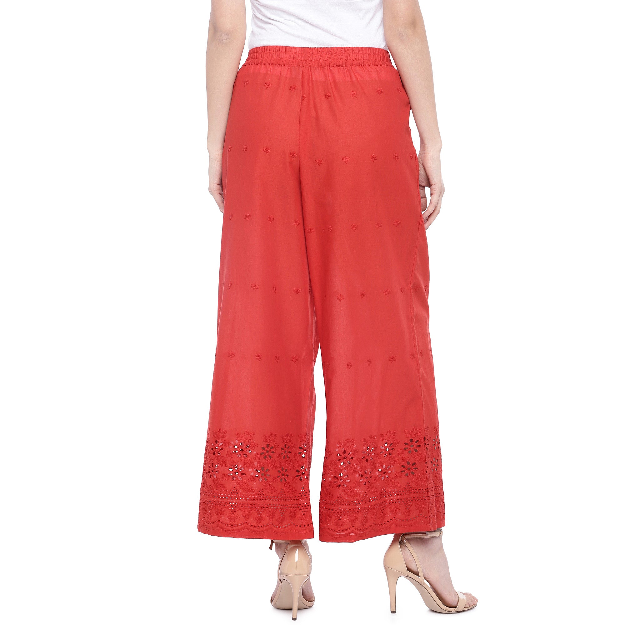 Red Loose Fit Self Design Anti Fit Trousers-3