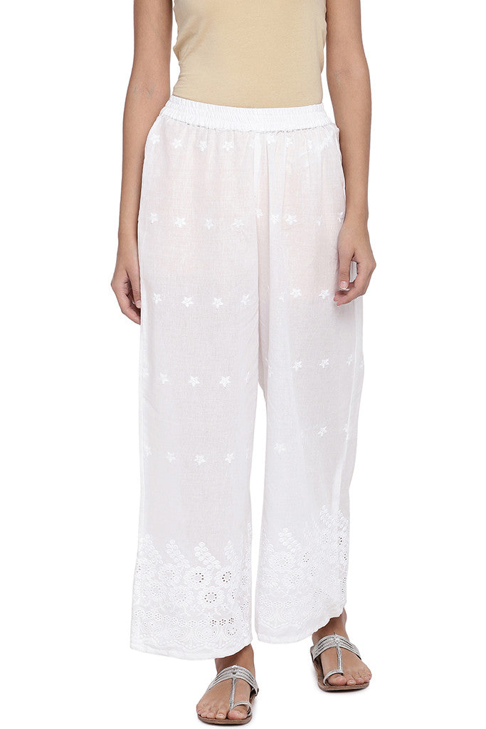 White Regular Fit Embroidered Regular Trousers-1