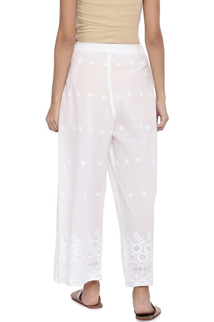 White Regular Fit Embroidered Regular Trousers-3