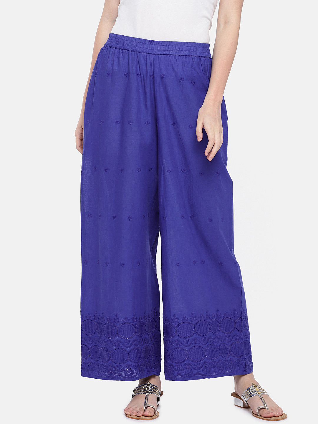 Blue Embroidered Straight Palazzos-1