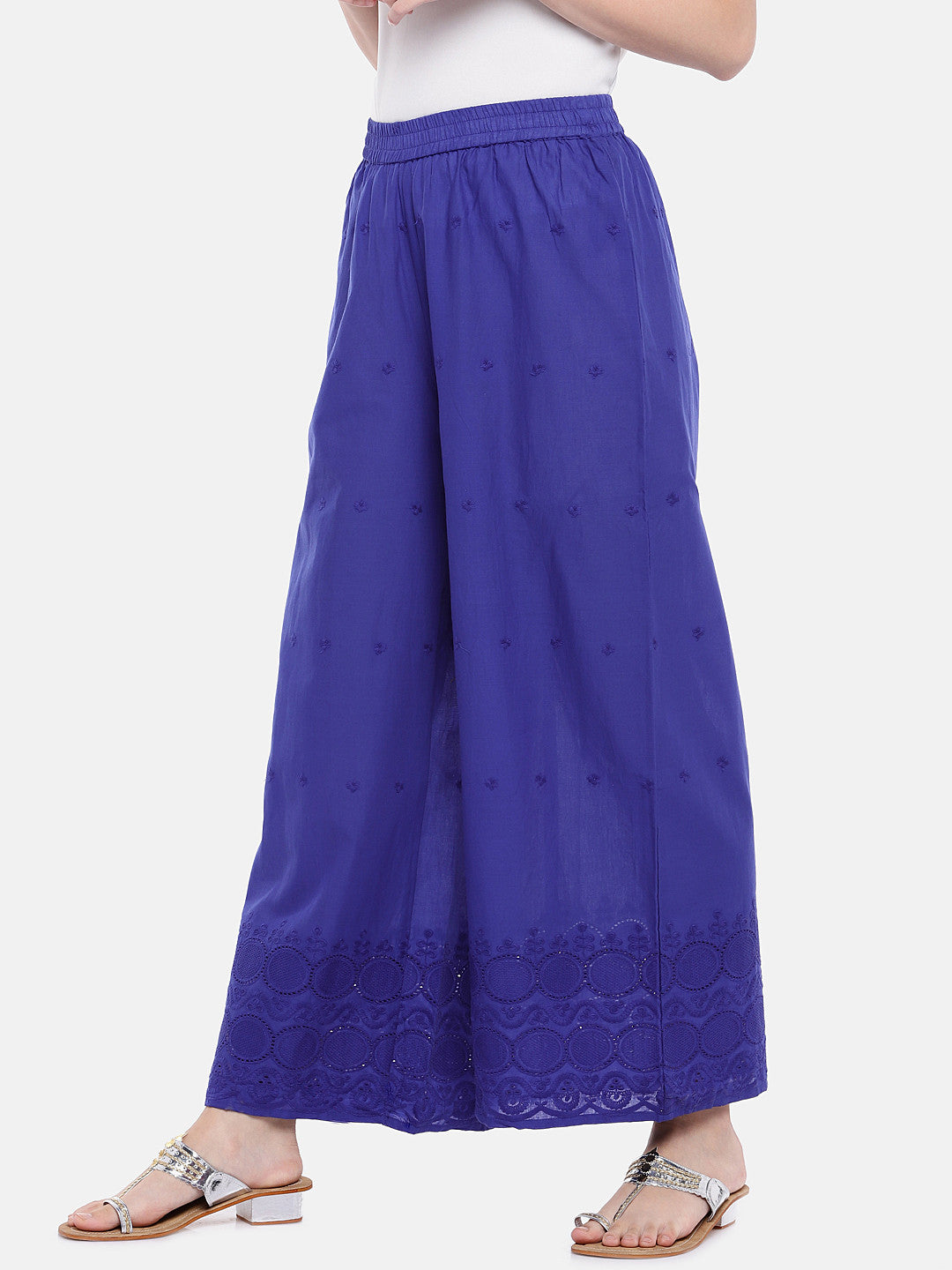 Blue Embroidered Straight Palazzos-2