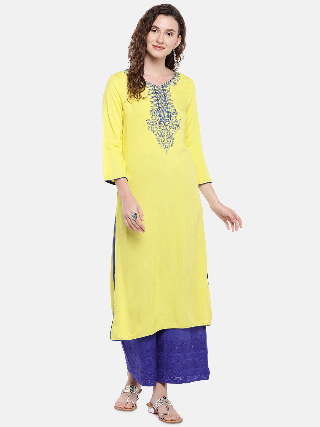 Blue Embroidered Straight Palazzos-4