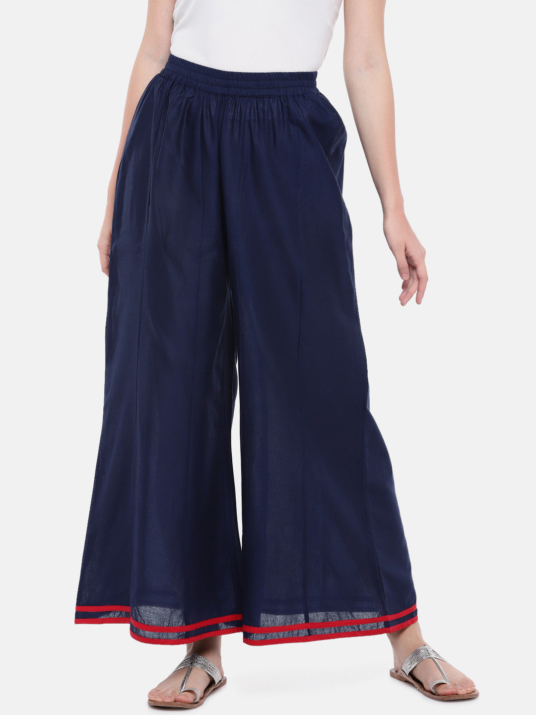 Blue Loose Fit Solid Regular Trousers-1