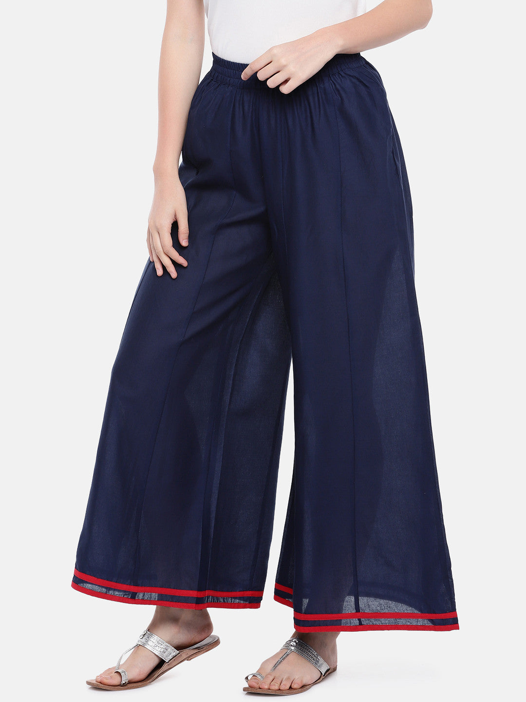 Blue Loose Fit Solid Regular Trousers-2