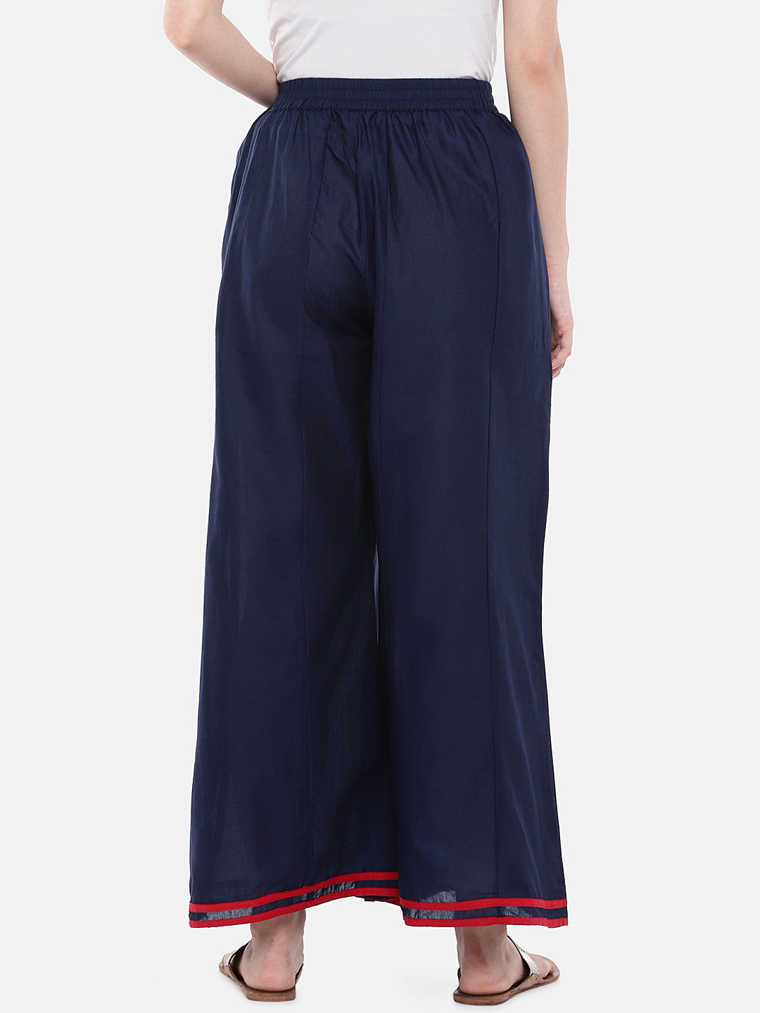 Blue Loose Fit Solid Regular Trousers-3