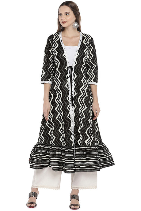 Black & White Printed Anarkali Shrug-1
