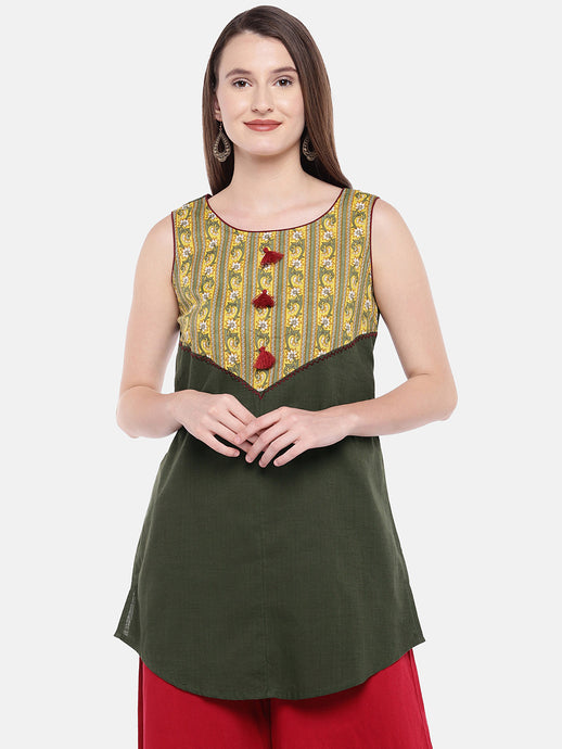 Women Olive Green Printed Tunic-1