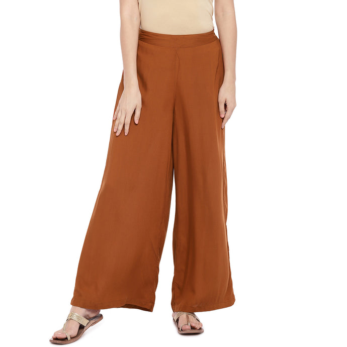 Rust Orange Wide Leg Solid Palazzos-1