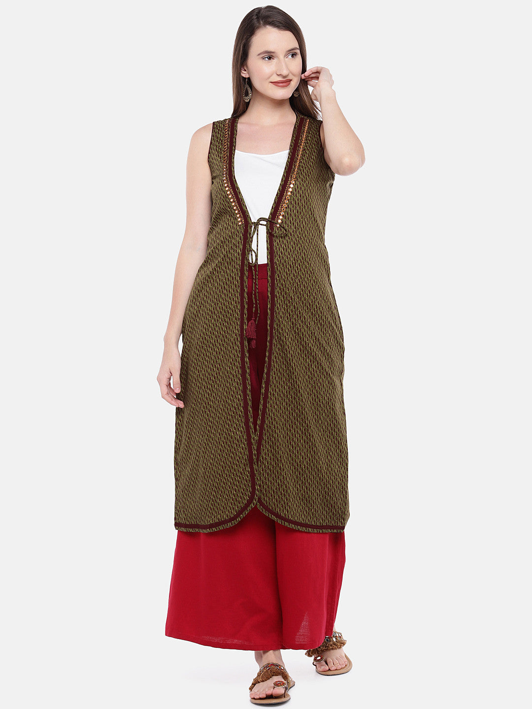 Olive Green Printed Open Front Longline Shrug-1