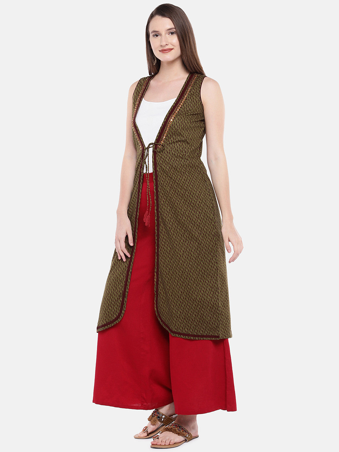 Olive Green Printed Open Front Longline Shrug-2