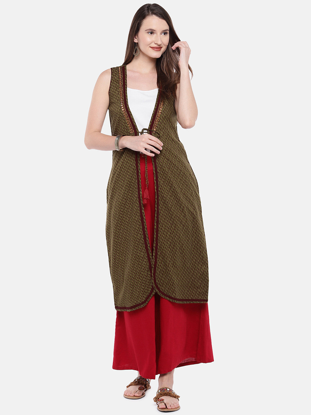 Olive Green Printed Open Front Longline Shrug-4