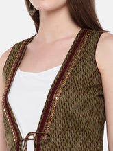 Load image into Gallery viewer, Olive Green Printed Open Front Longline Shrug-5