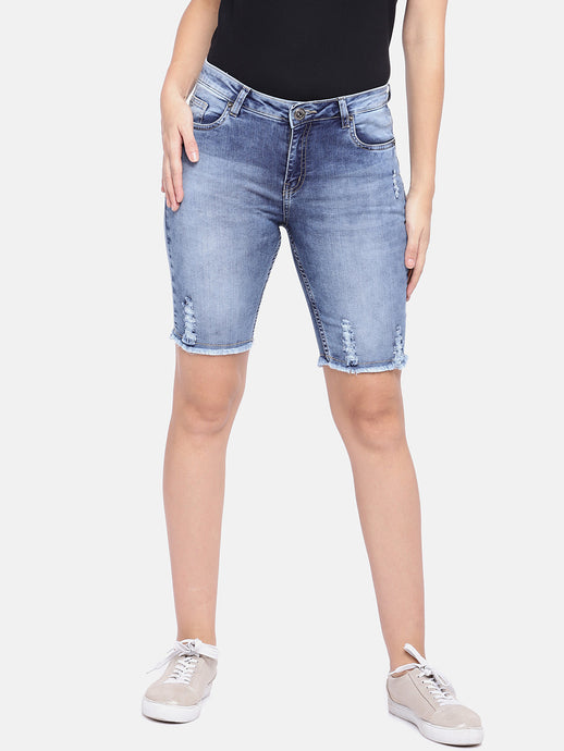Blue Washed Regular Fit Hot Pants-1