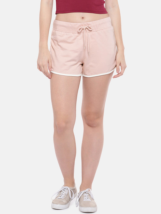 Pink Solid Regular Fit Regular Shorts-1