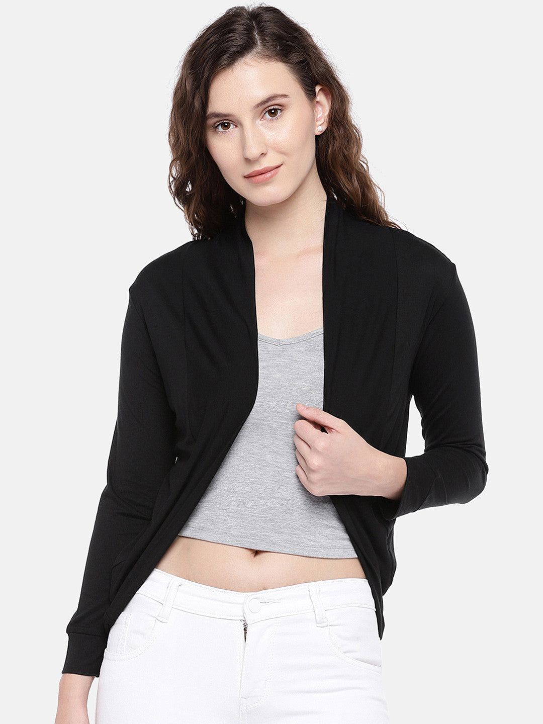 Black Solid Open Front Shrug-1