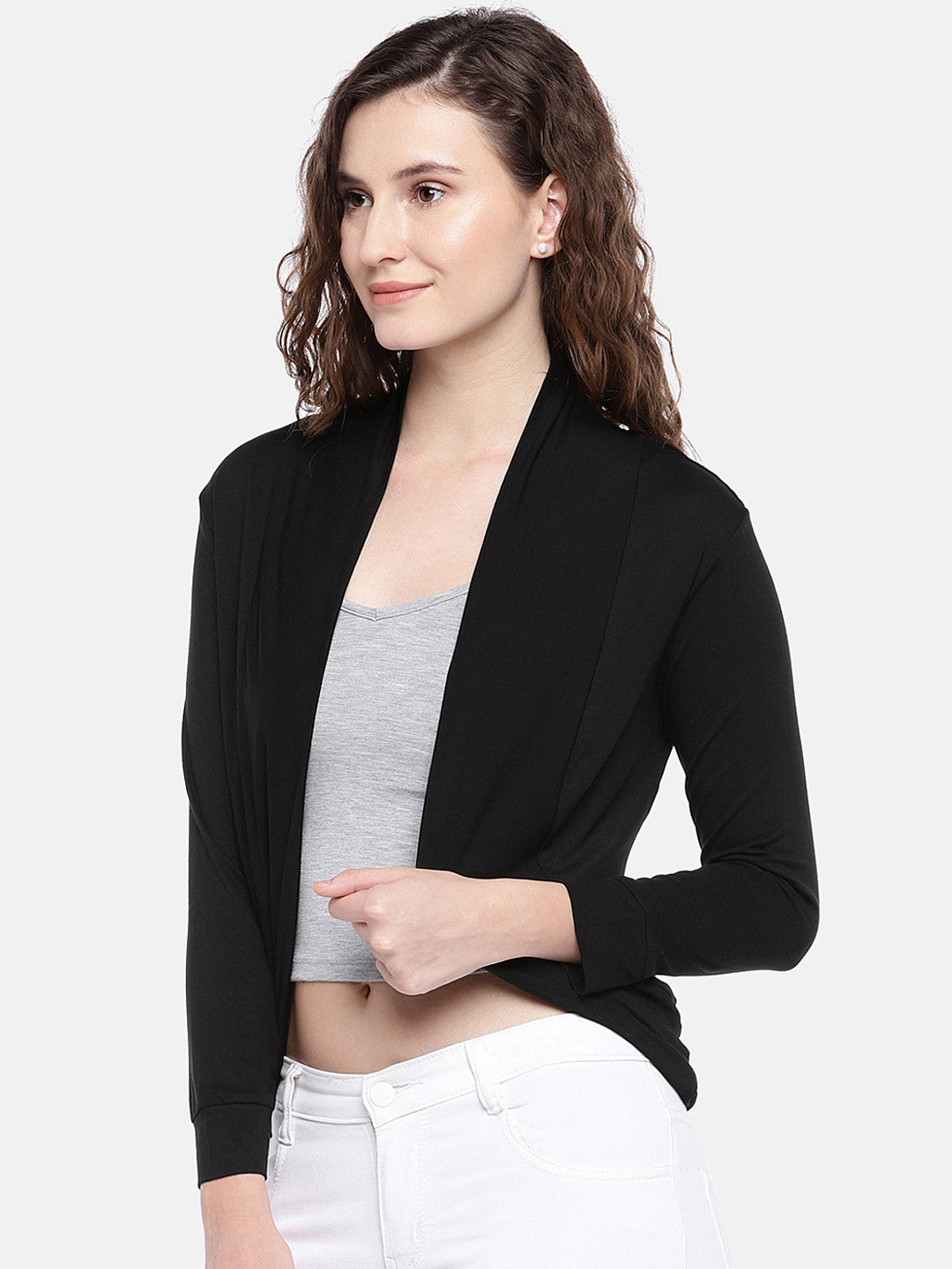 Black Solid Open Front Shrug-2