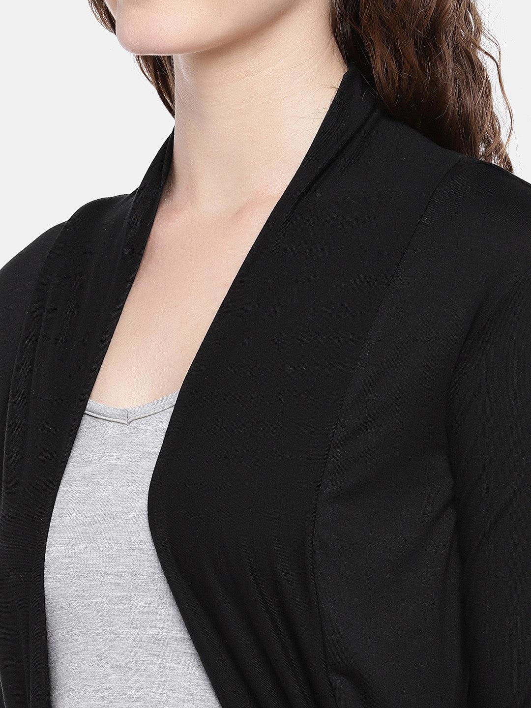 Black Solid Open Front Shrug-5