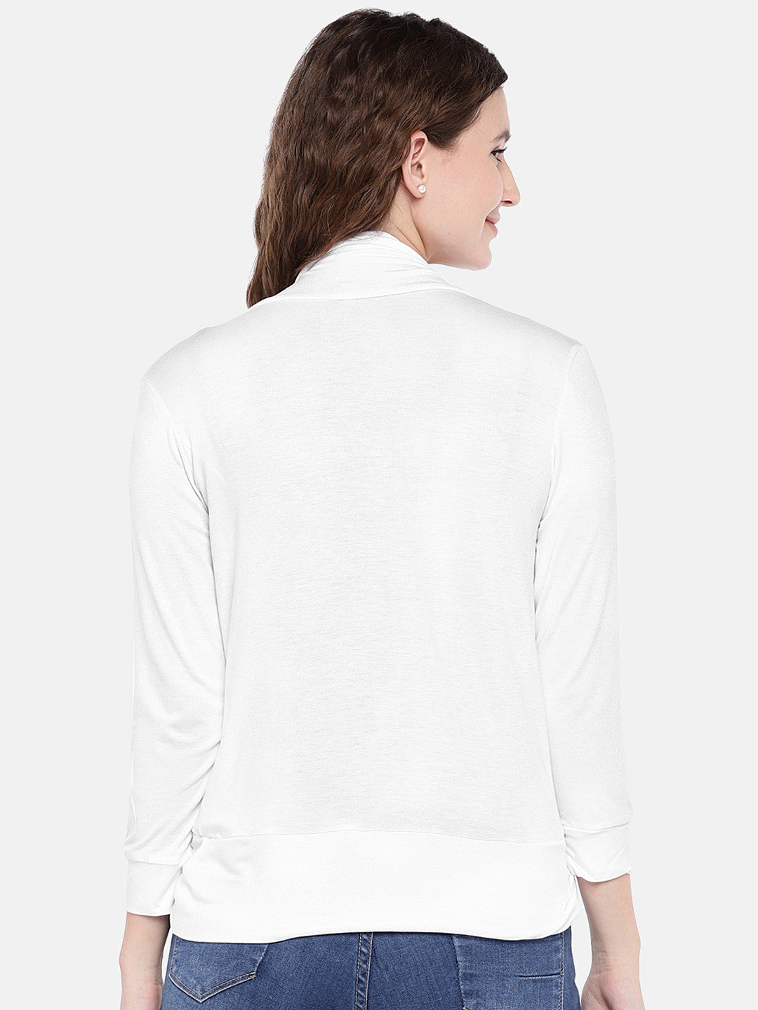 Off-White Solid Open Front Shrug-3