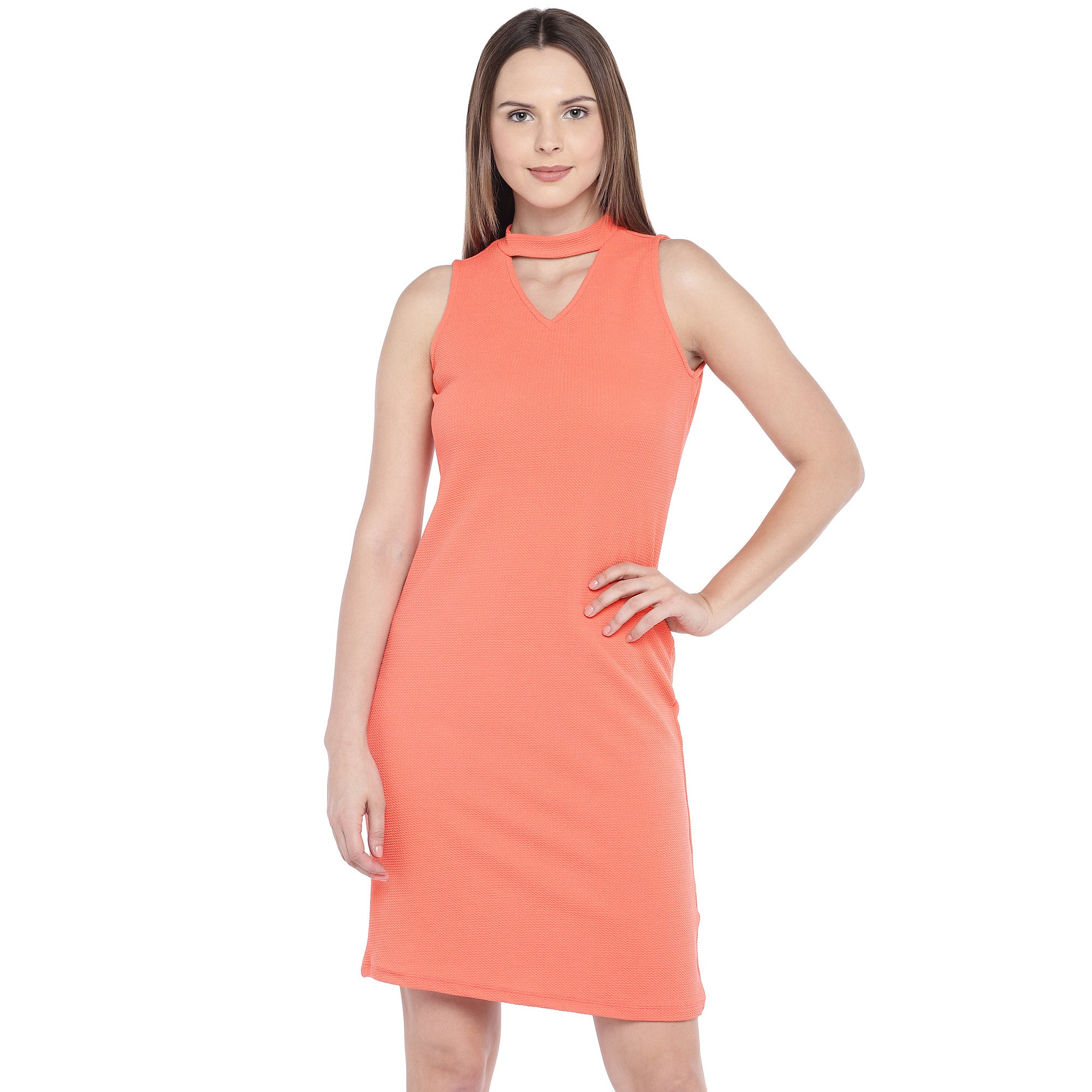 Coral Orange Self Design Sheath Dress-1