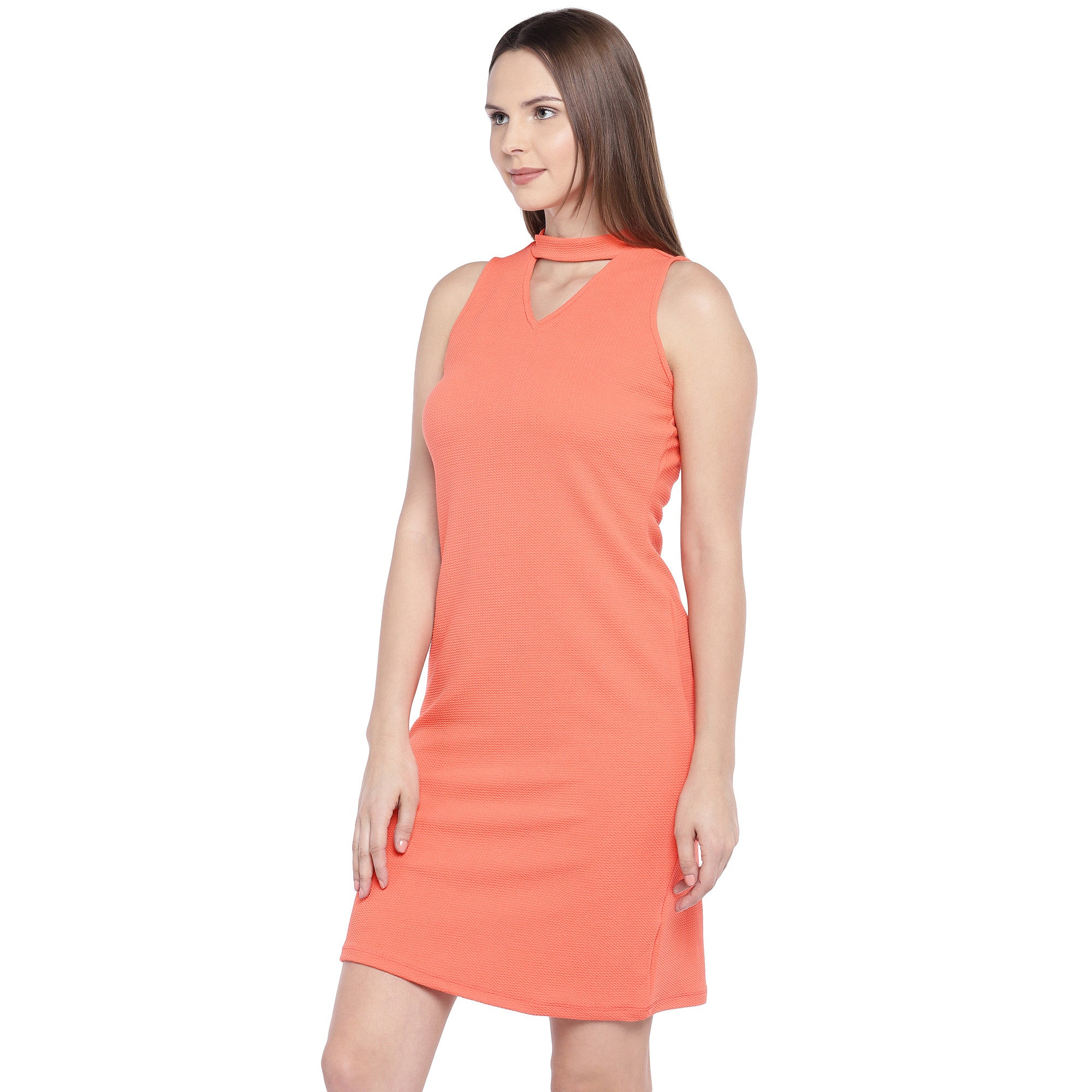 Coral Orange Self Design Sheath Dress-2