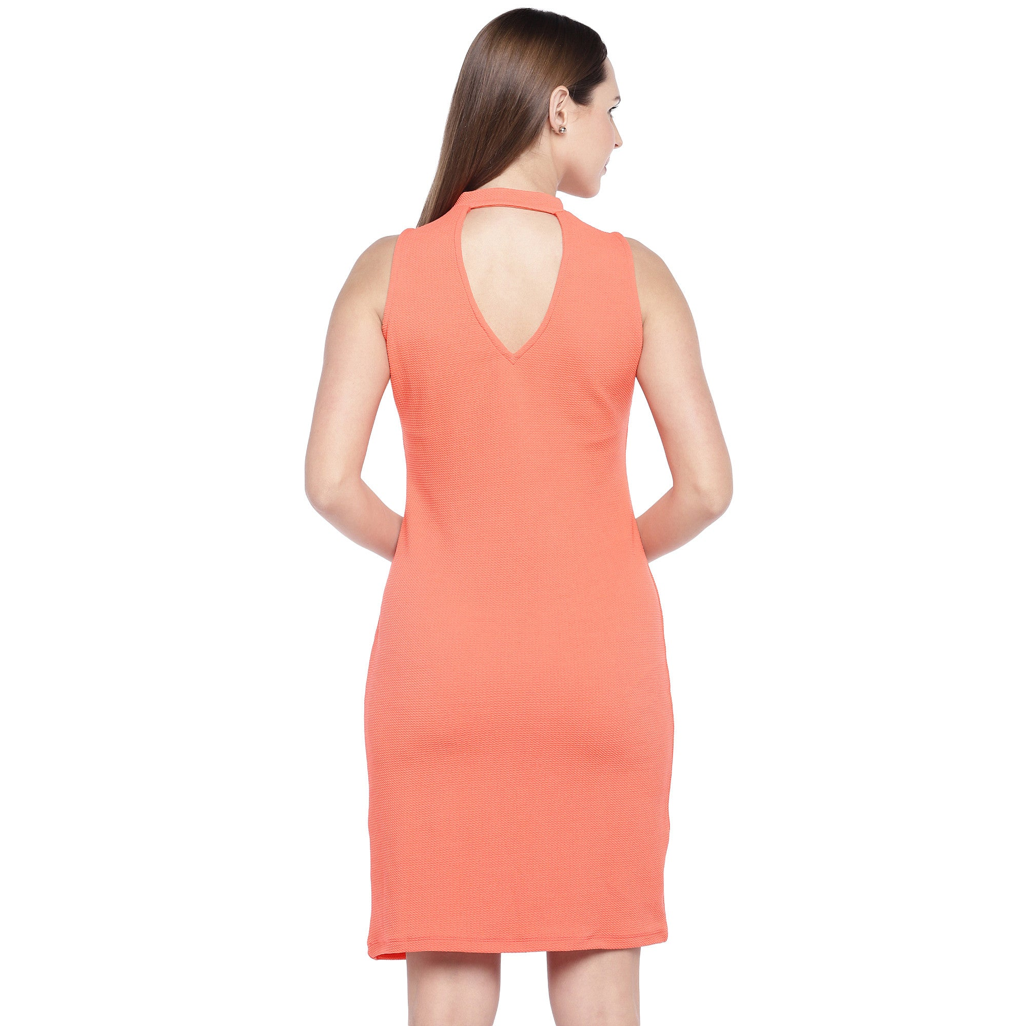 Coral Orange Self Design Sheath Dress-3