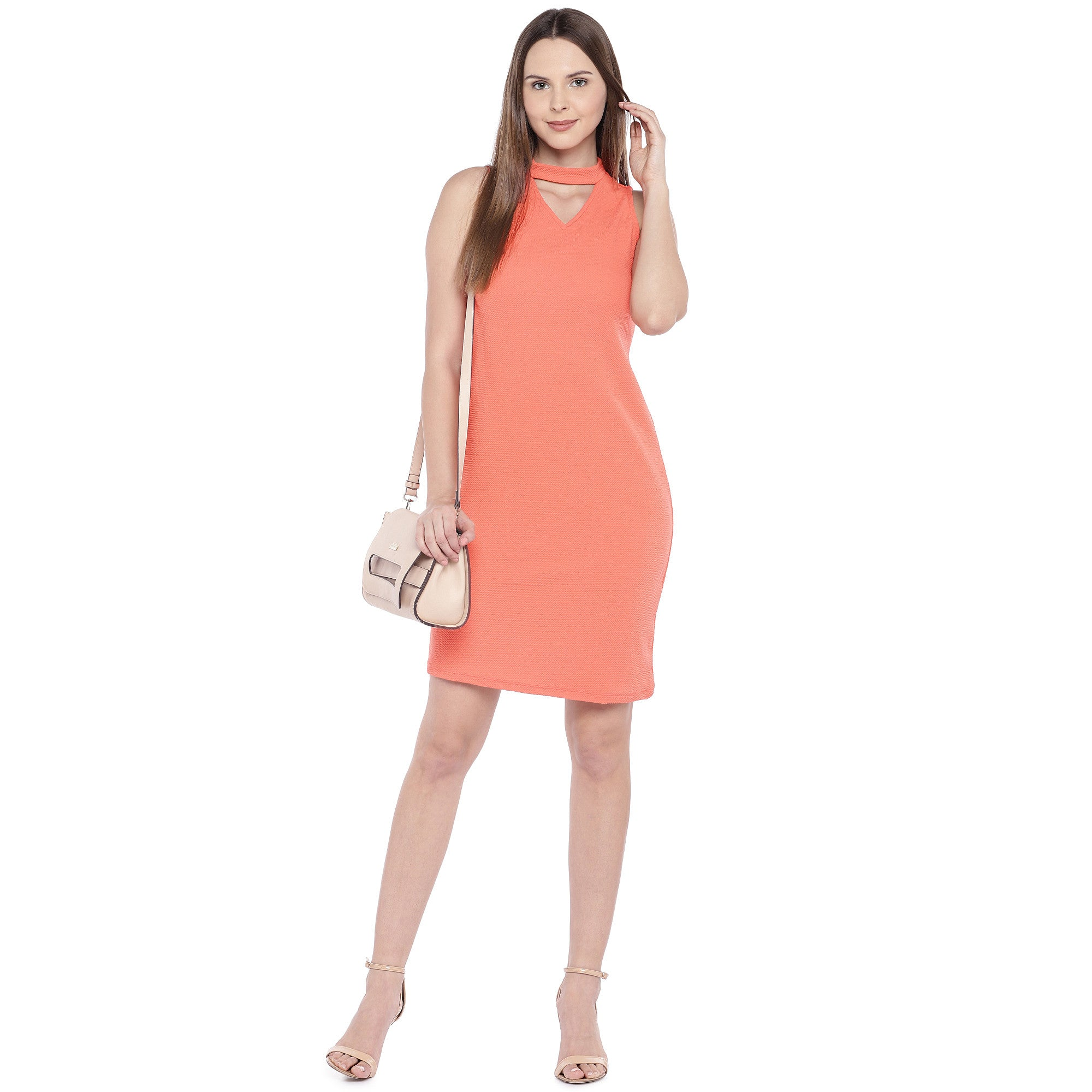 Coral Orange Self Design Sheath Dress-4