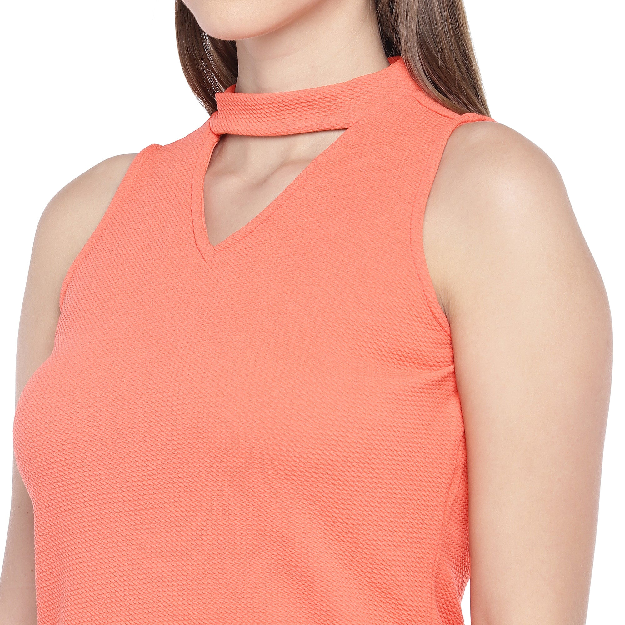 Coral Orange Self Design Sheath Dress-5