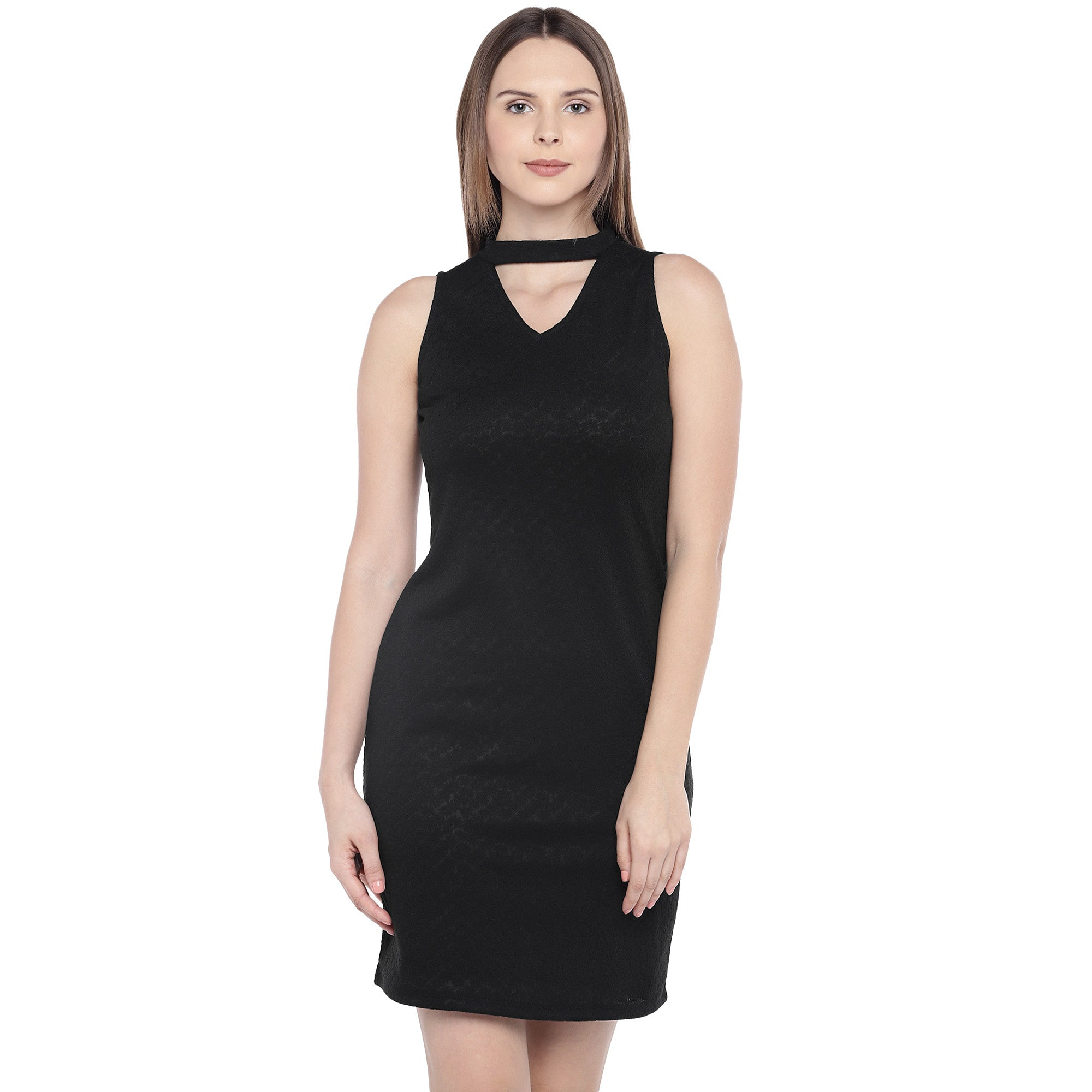 Black Self Design Sheath Dress-1