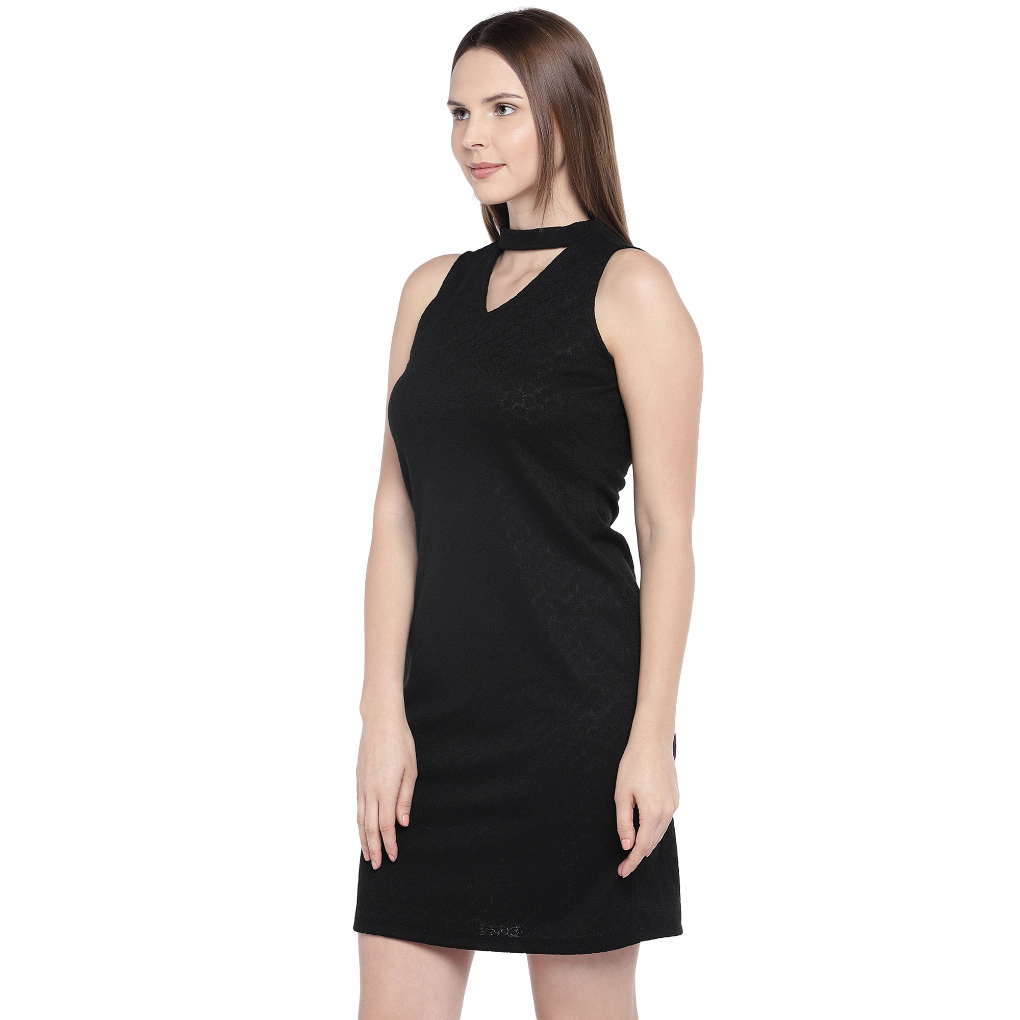 Black Self Design Sheath Dress-2