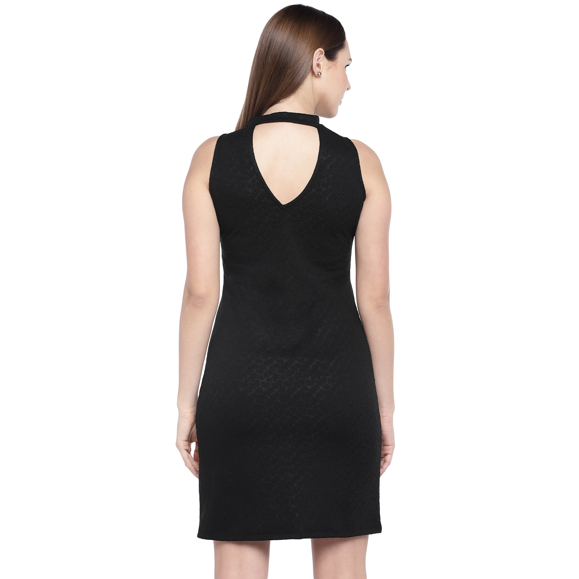 Black Self Design Sheath Dress-3