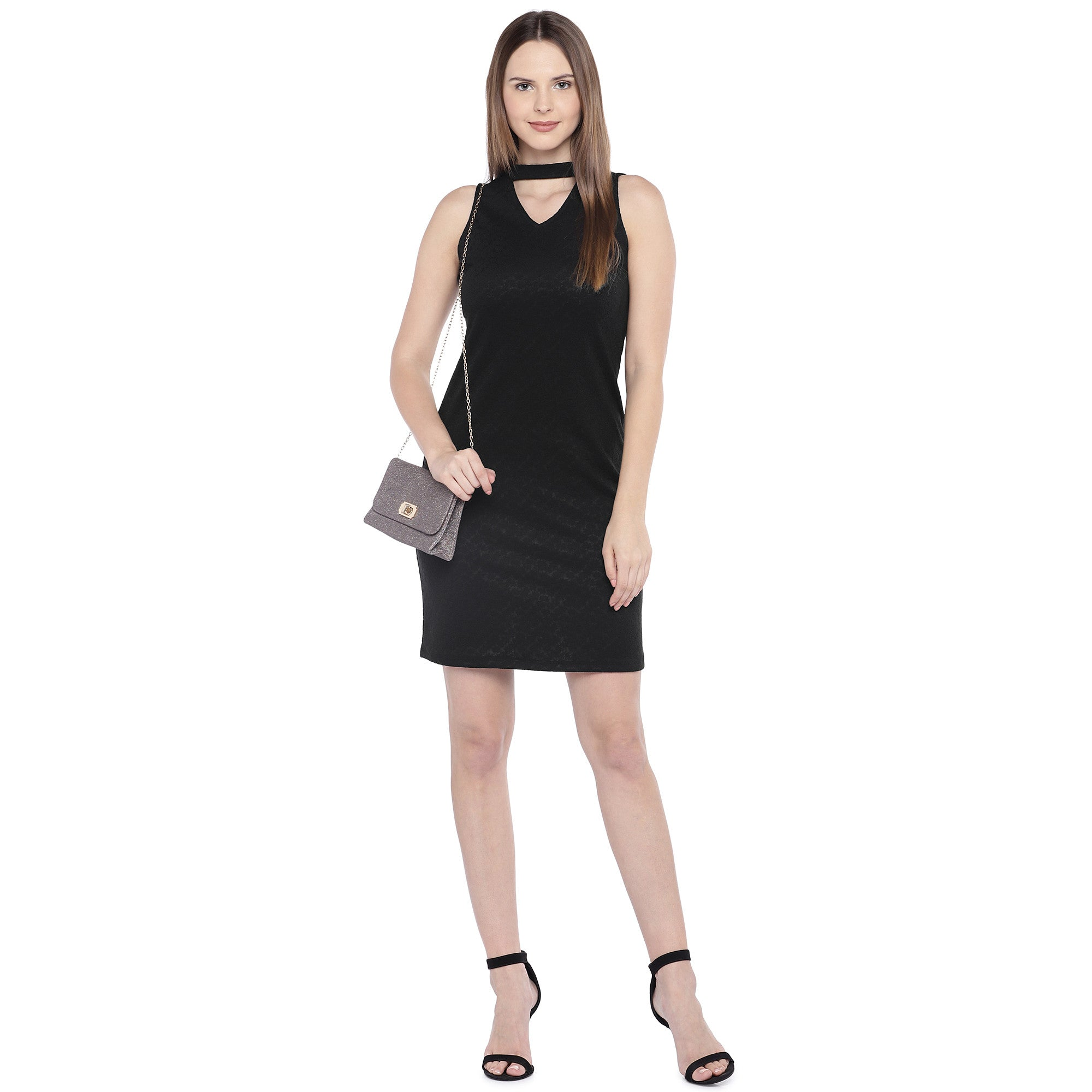 Black Self Design Sheath Dress-4