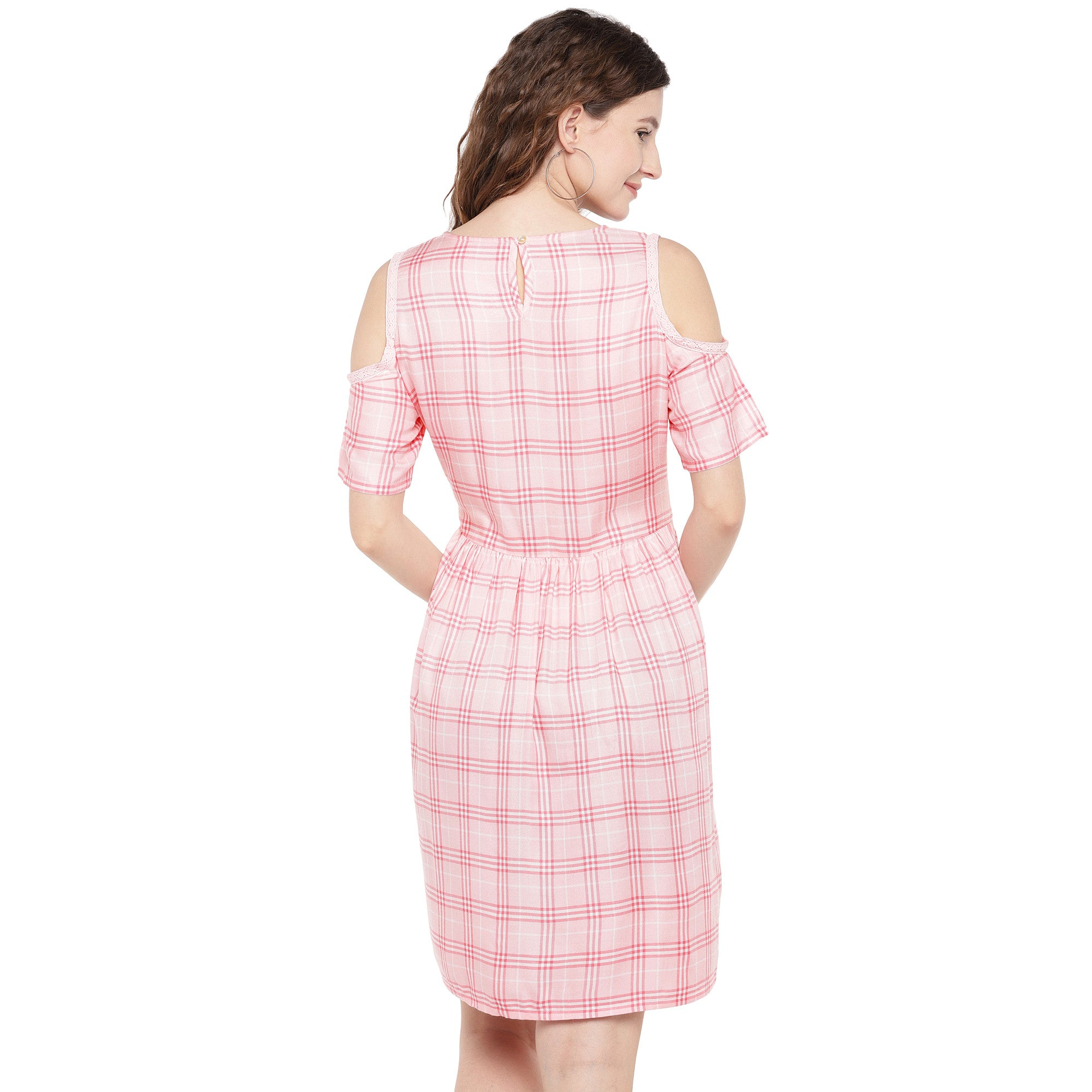 Women Pink Checked Fit and Flare Dress-3