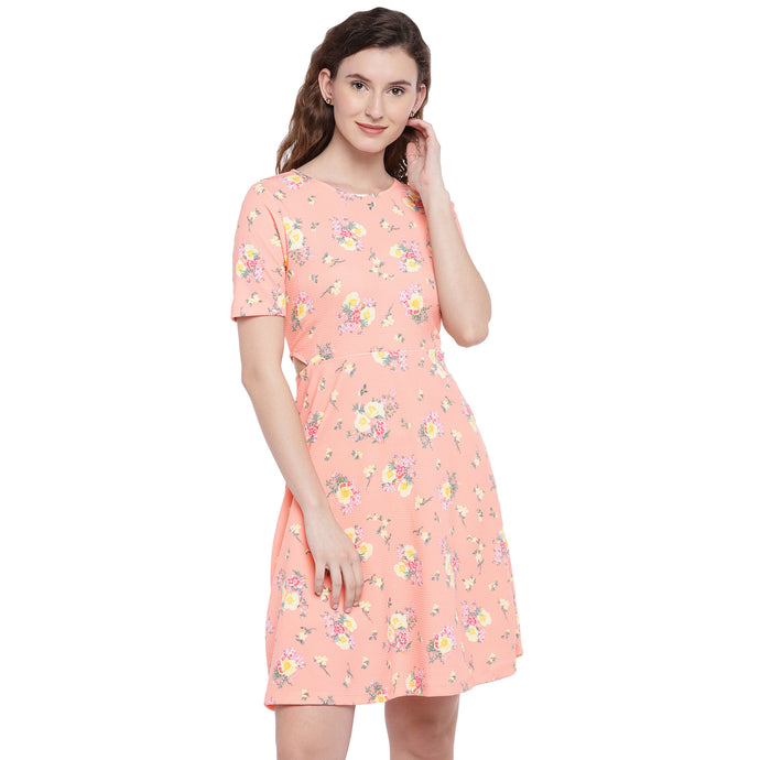Peach-Coloured Printed Fit and Flare Dress-1
