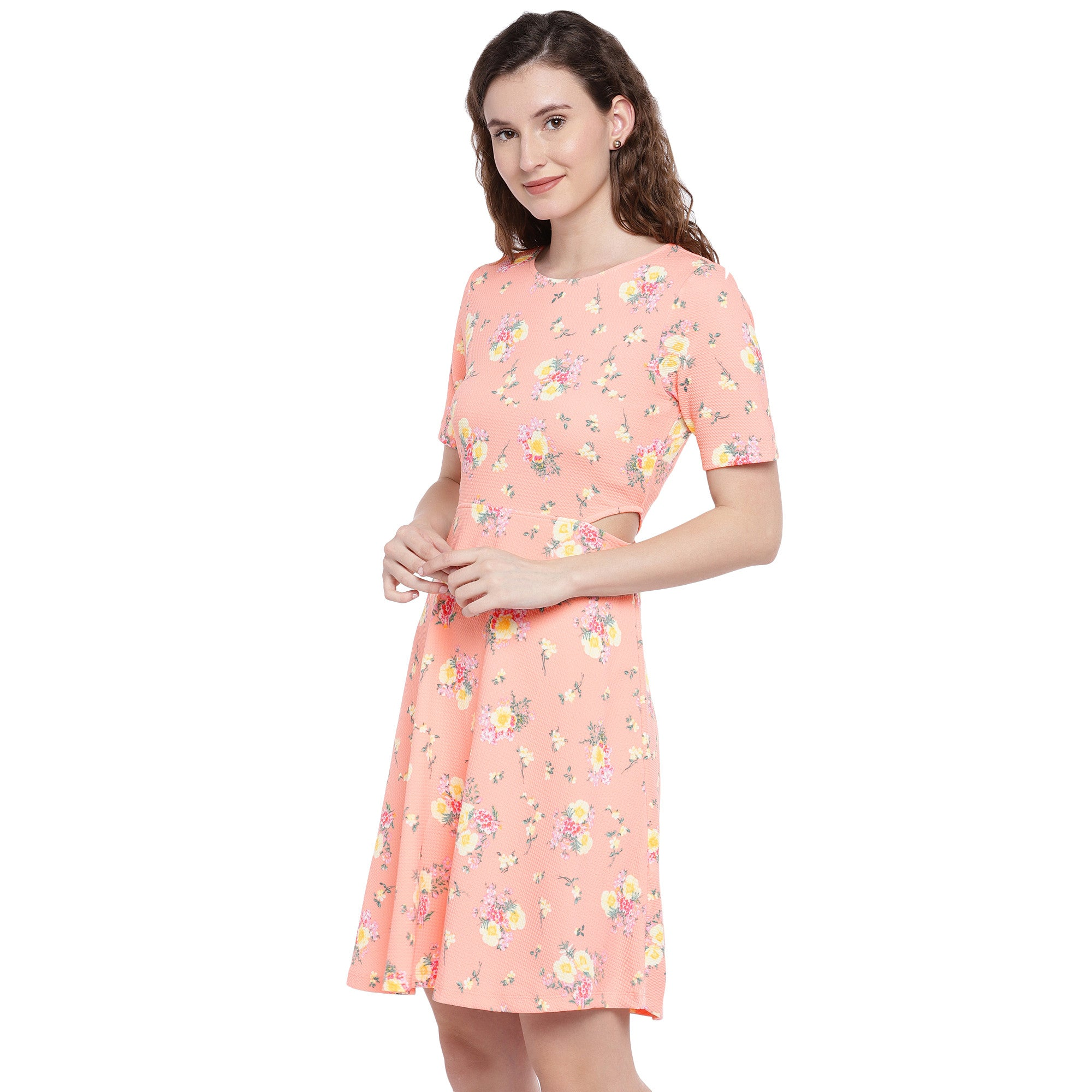 Peach-Coloured Printed Fit and Flare Dress-2
