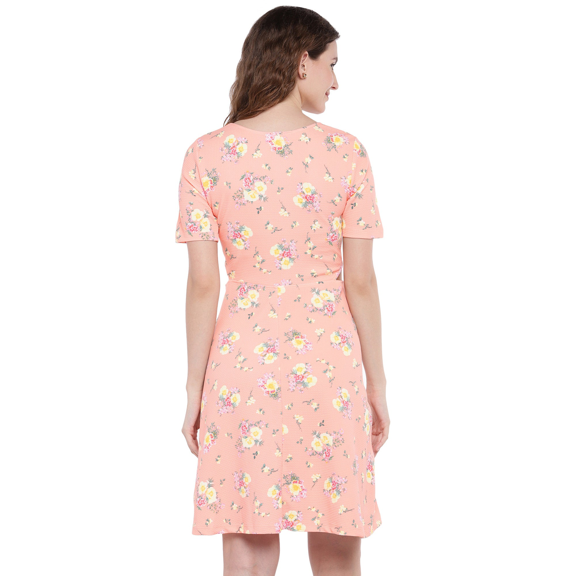 Peach-Coloured Printed Fit and Flare Dress-3