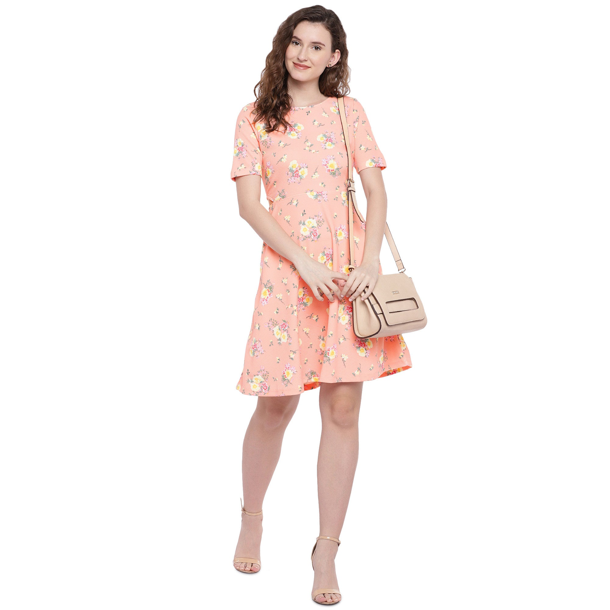 Peach-Coloured Printed Fit and Flare Dress-4