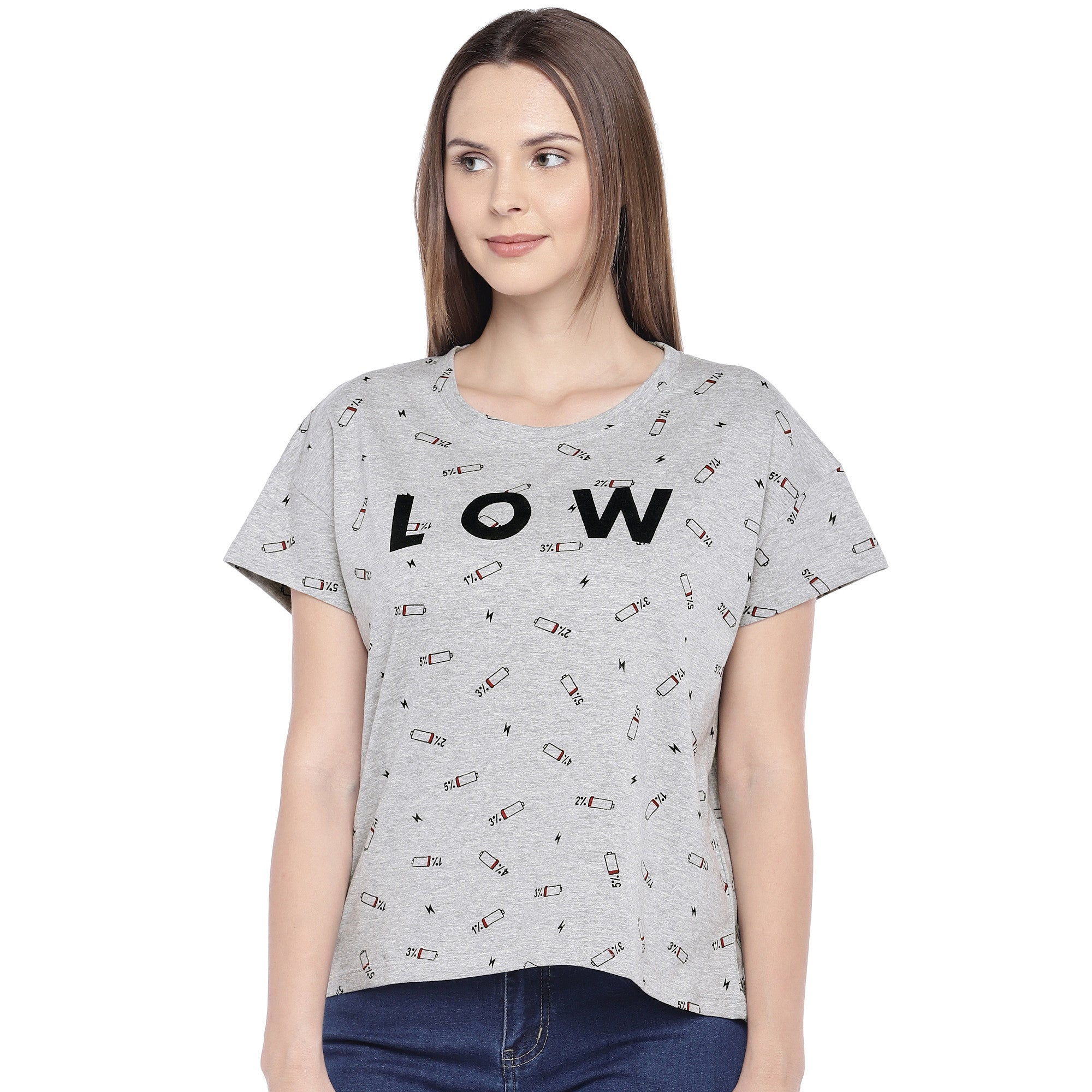 Grey Printed Round Neck T-shirt-1