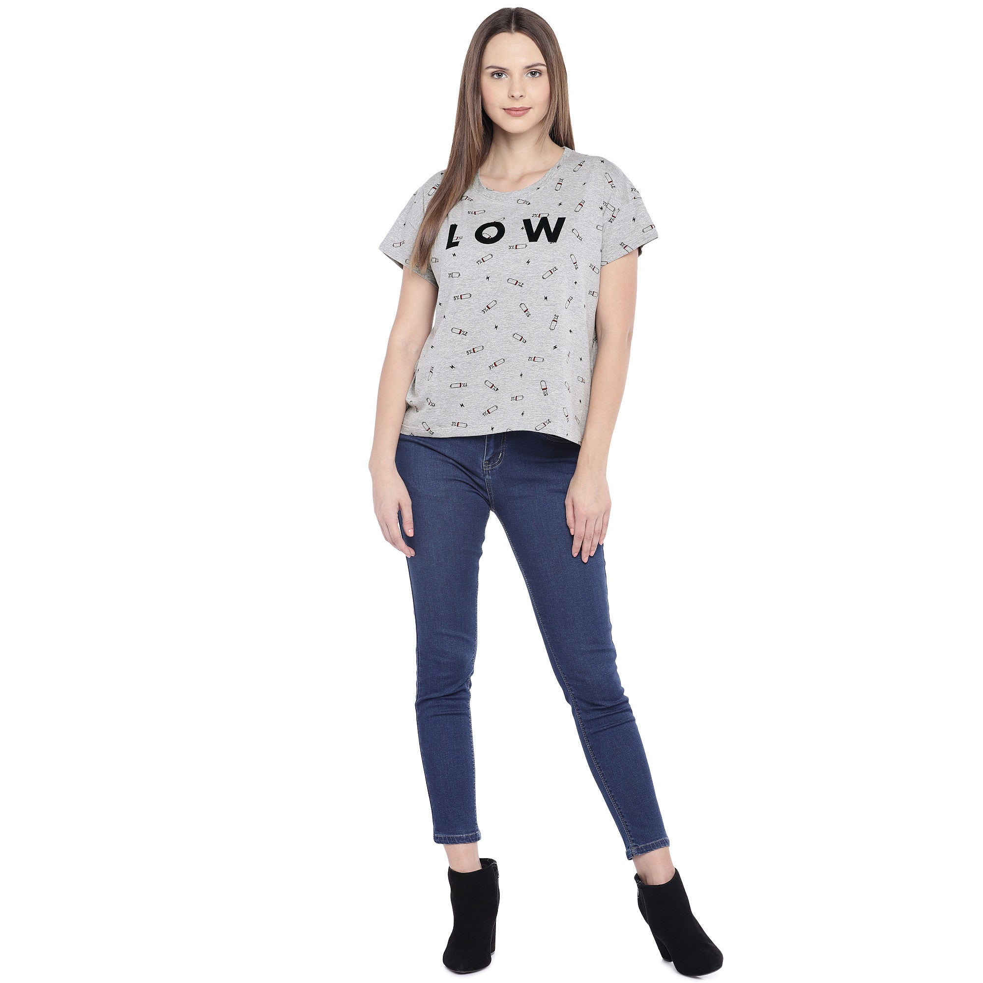 Grey Printed Round Neck T-shirt-4