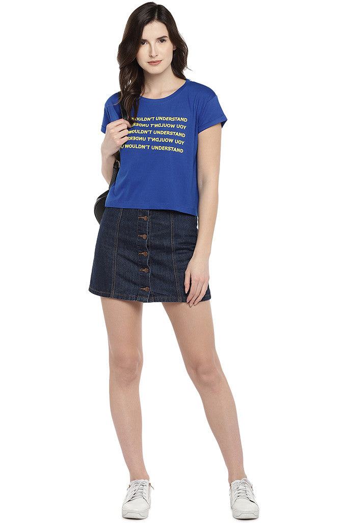 Blue Printed Round Neck T-shirt-4