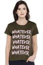 Load image into Gallery viewer, Olive Green Printed Round Neck T-shirt-1