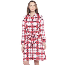 Load image into Gallery viewer, Navy Blue Checked Fit and Flare Dress-1