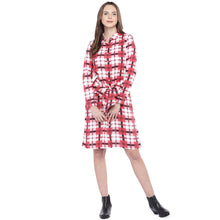 Load image into Gallery viewer, Navy Blue Checked Fit and Flare Dress-4