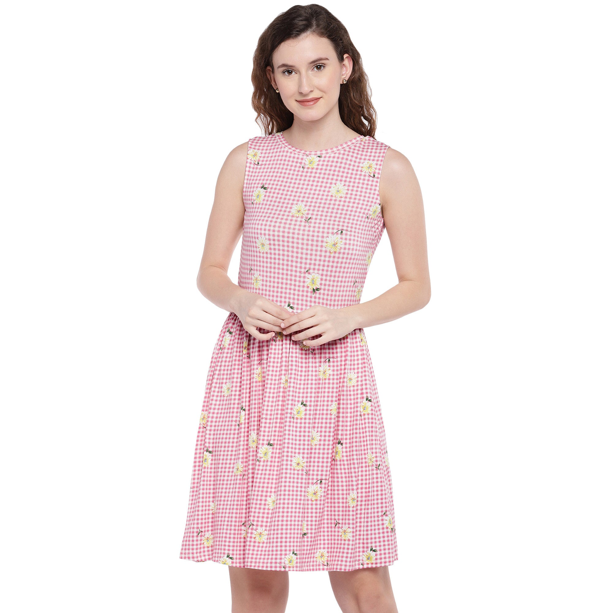 Pink Checked Fit and Flare Dress-1