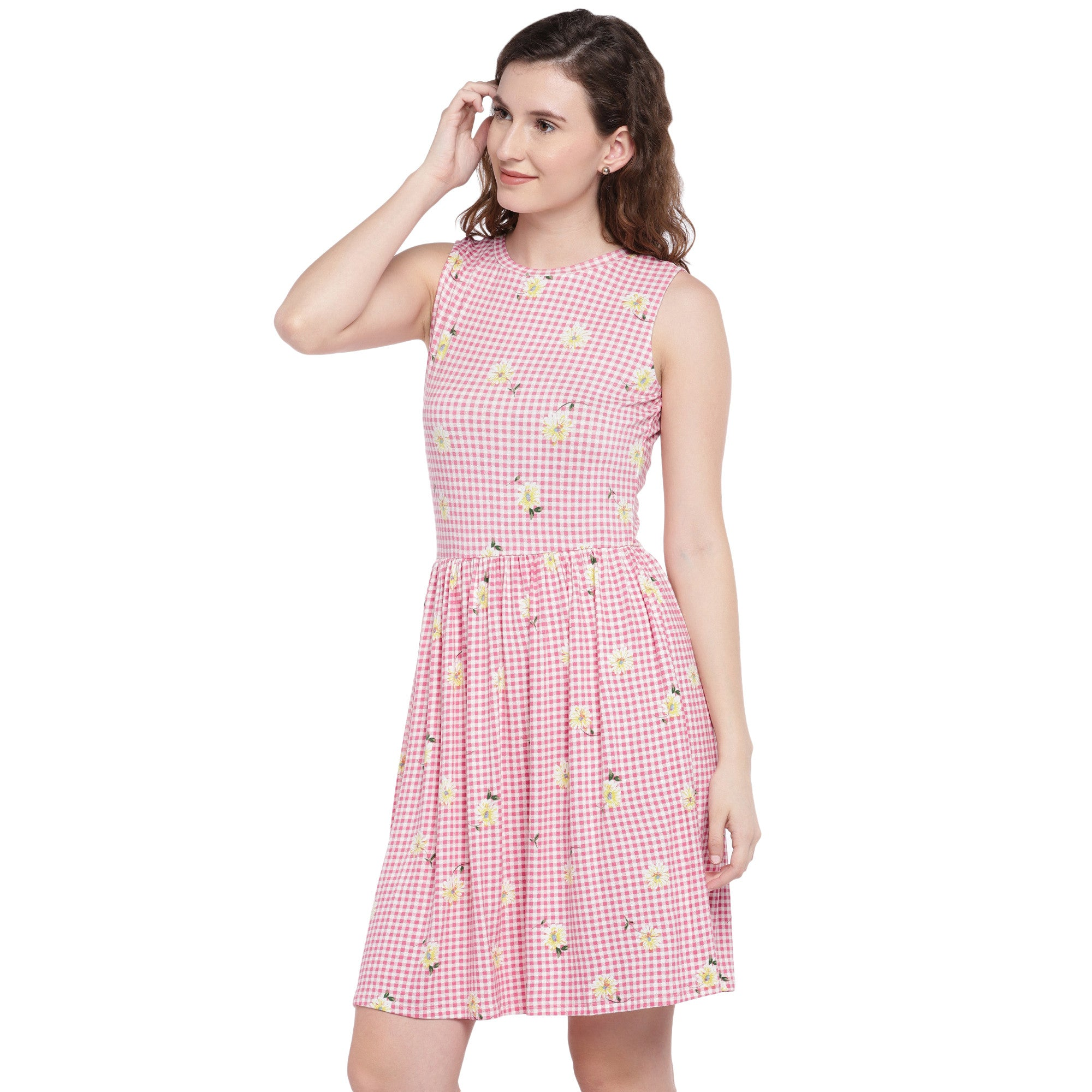 Pink Checked Fit and Flare Dress-2