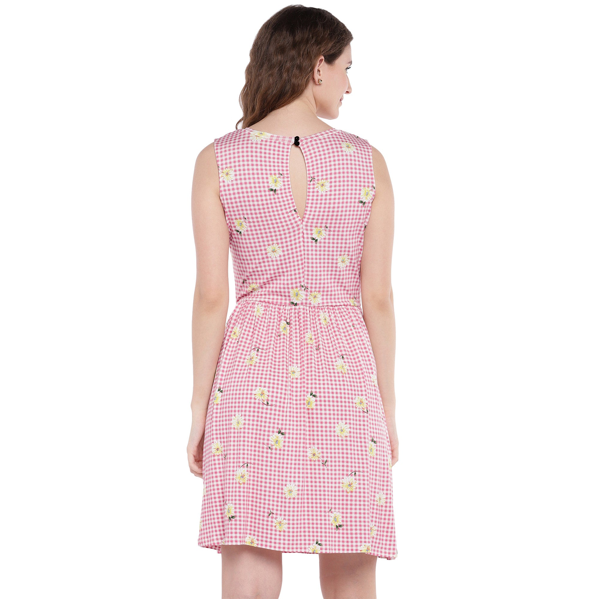 Pink Checked Fit and Flare Dress-3