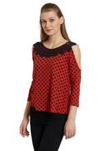 Load image into Gallery viewer, Polka Cold Shoulder Top-2