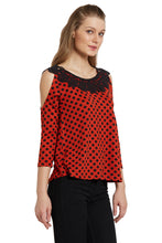 Load image into Gallery viewer, Polka Cold Shoulder Top-4