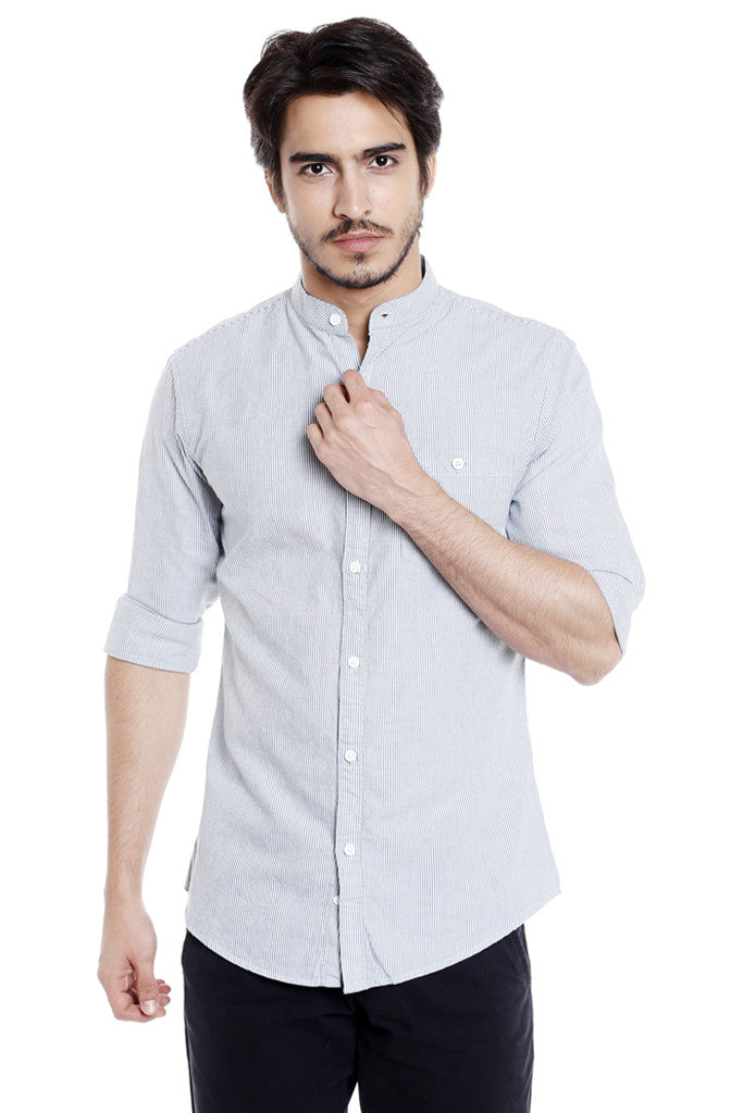 Mandarin Collar Casual Shirt for Men-1