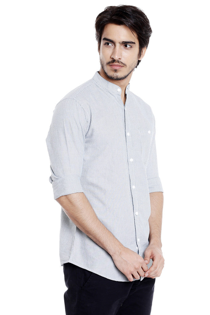 Mandarin Collar Casual Shirt for Men-4