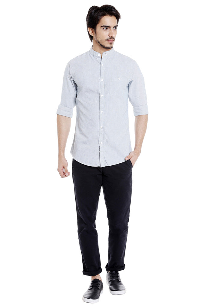 Mandarin Collar Casual Shirt for Men-5